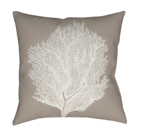 """20"""" Beige and White Coral Printed Square Throw Pillow Cover - IMAGE 1"""