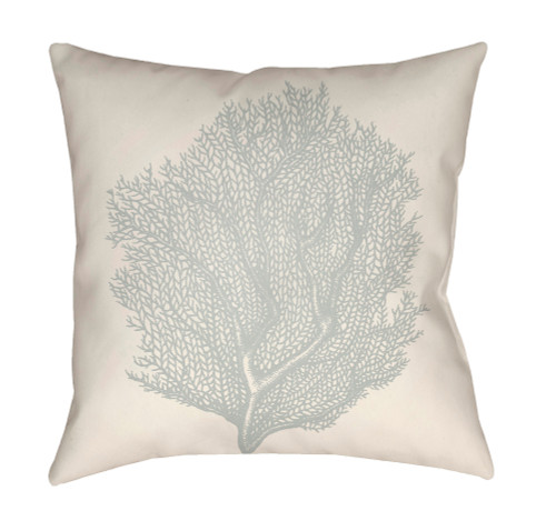 "20"" Beige and Gray Coral Printed Square Throw Pillow Cover - IMAGE 1"