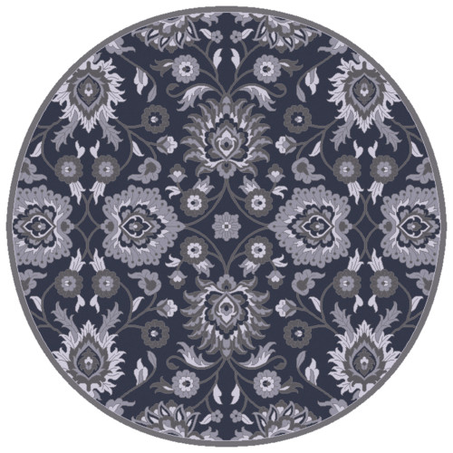 6' Botanical Floral Motif Blue and Gray Hand Tufted Wool Round Area Rug - IMAGE 1