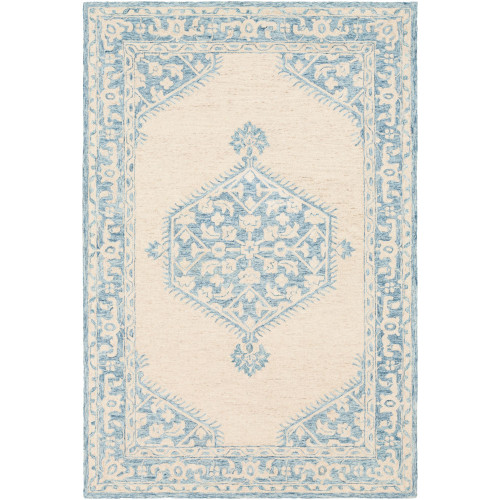 5' x 7.5' Hexagonal Medallion Blue and Beige Rectangular Hand Tufted Wool Rug - IMAGE 1
