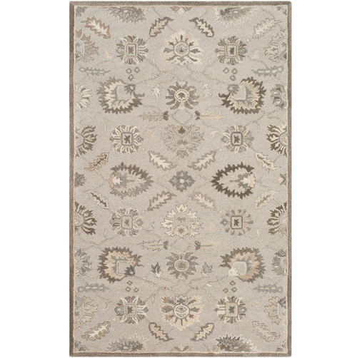 2' x 3' Seamless Pattern Beige and Khaki Rectangular Wool Area Rug - IMAGE 1