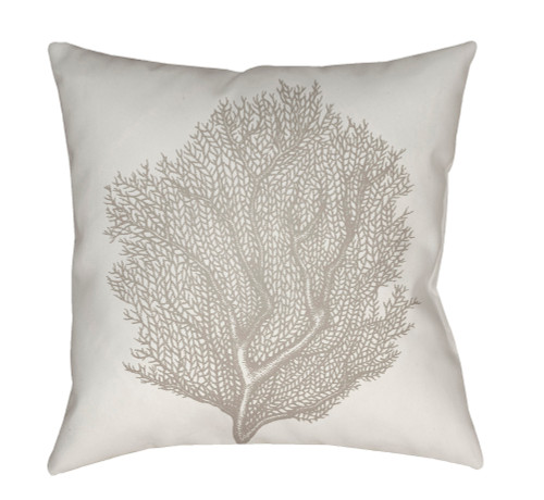 """20"""" White and Gray Coral Printed Square Throw Pillow Cover - IMAGE 1"""