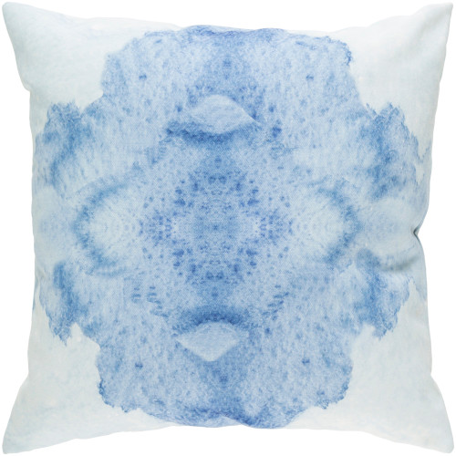 """18"""" Sky Blue and White Digitally Printed Square Throw Pillow Cover - IMAGE 1"""