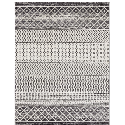 Black and Gray Elegant Modern Moroccan Boho Rectangular Machine Woven Area Rug - IMAGE 1