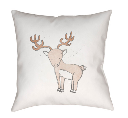 """18"""" White and Brown Deer Printed Square Throw Pillow Cover - IMAGE 1"""