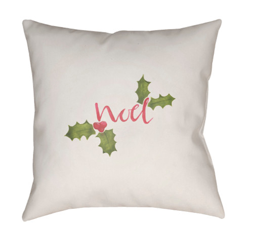 """18"""" White and Green """"Noel"""" Printed Square Throw Pillow Cover - IMAGE 1"""