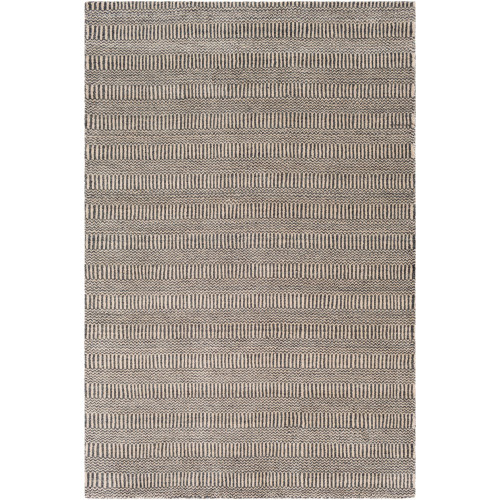 5' x 7.5' Gray Hand Loomed Rectangular Area Throw Rug - IMAGE 1