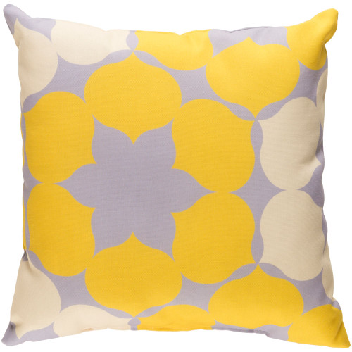 """20"""" Yellow and Ivory Floral Square Throw Pillow Cover - IMAGE 1"""