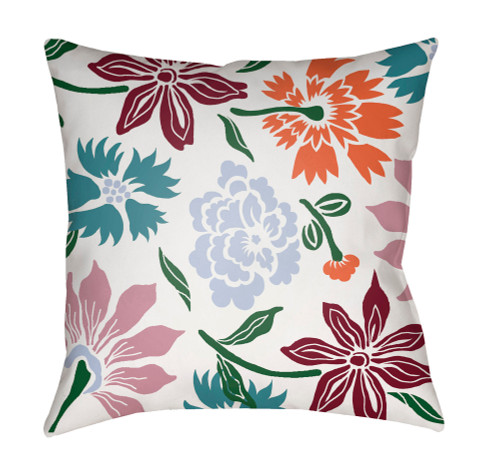 """18"""" Green and Brown Floral Printed Square Throw Pillow Cover with Knife Edge - IMAGE 1"""