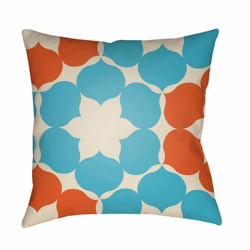 "20"" Sea Blue and Burnt Orange Floral Square Throw Pillow Cover - IMAGE 1"