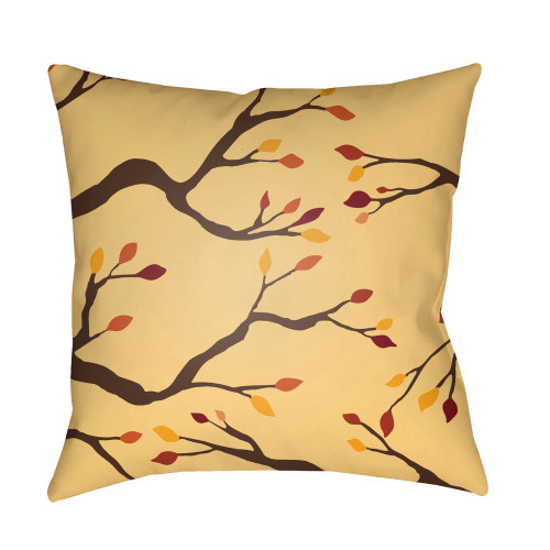 """20"""" Beige and Brown Branches Printed Square Throw Pillow Cover - IMAGE 1"""