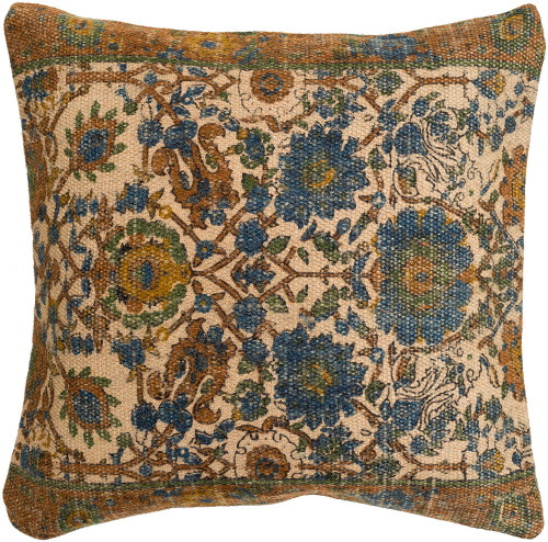 """18"""" Backyard Blooms Taupe Brown and Mango Orange Decorative Square Throw Pillow Cover - IMAGE 1"""