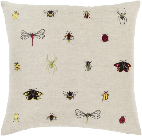 "22"" Brown and Beige Insects Printed Square Throw Pillow - Down Filler - IMAGE 1"