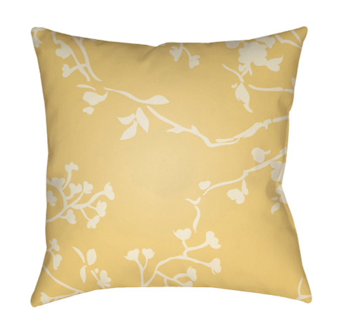 """20"""" Beige and Yellow Floral Square Throw Pillow Cover with Knife Edge - IMAGE 1"""
