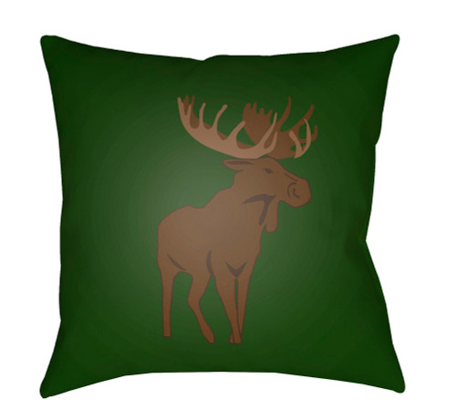 """18"""" Green and Brown Moose Printed Square Throw Pillow Cover - IMAGE 1"""