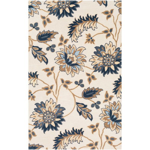 7.5' x 9.5' Floral Beige and Blue Hand Tufted Rectangular Area Throw Rug - IMAGE 1