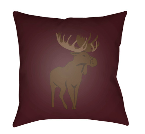 """18"""" Red and Brown Moose Printed Square Throw Pillow Cover - IMAGE 1"""