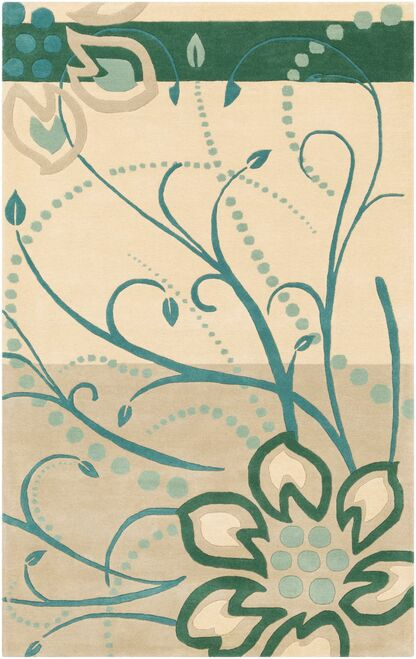 7.5' x 9.5' Floral Design Green and Cream White Hand Tufted Rectangular Area Throw Rug - IMAGE 1