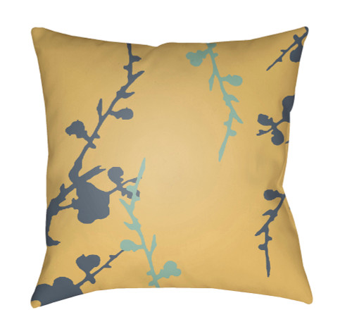 """20"""" Yellow and Denim Blue Floral Square Throw Pillow Cover with Knife Edge - IMAGE 1"""