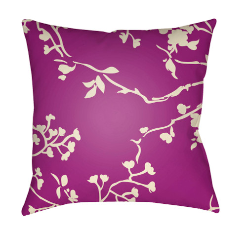 """20"""" Purple and Yellow Floral Square Throw Pillow Cover with Knife Edge - IMAGE 1"""