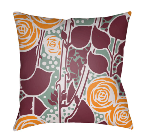 """20"""" Sage and Orange Floral Square Throw Pillow Cover with Knife Edge - IMAGE 1"""