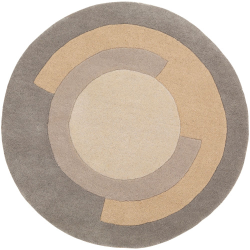 3' Geometric Patterned Gray and Beige Hand Tufted Round Wool Area Throw Rug - IMAGE 1