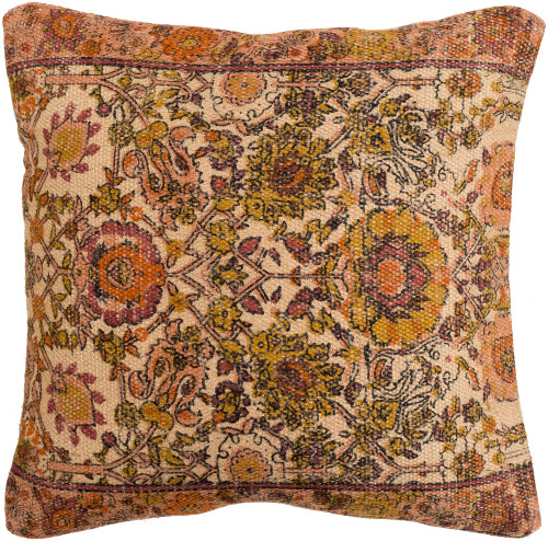 """18"""" Backyard Blooms Taupe Brown and Cantaloupe Orange Decorative Square Throw Pillow Cover - IMAGE 1"""