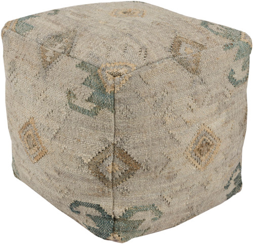 """18"""" Teal Green and Brown Geometric Patterned Square Pouf Ottoman - IMAGE 1"""