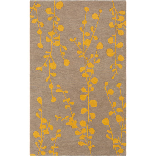 7.5' x 9.5' Contemporary Style Brown and Yellow Hand Tufted Rectangular Area Throw Rug - IMAGE 1