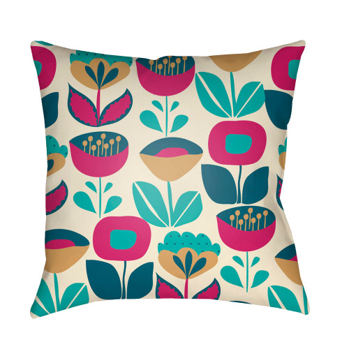 """20"""" Magenta Violet and Beige Floral Square Throw Pillow Cover - IMAGE 1"""