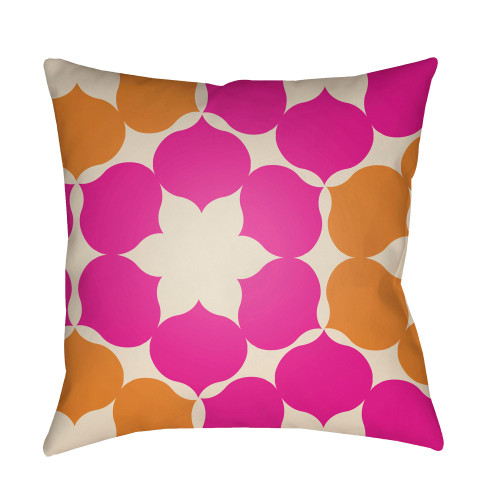 "20"" Pink and Burnt Orange Floral Square Throw Pillow Cover - IMAGE 1"