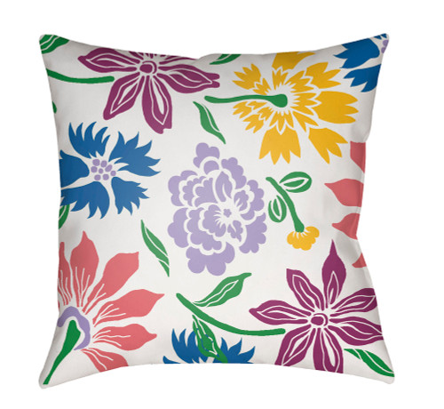 """18"""" Purple and Blue Floral Printed Square Throw Pillow Cover with Knife Edge - IMAGE 1"""