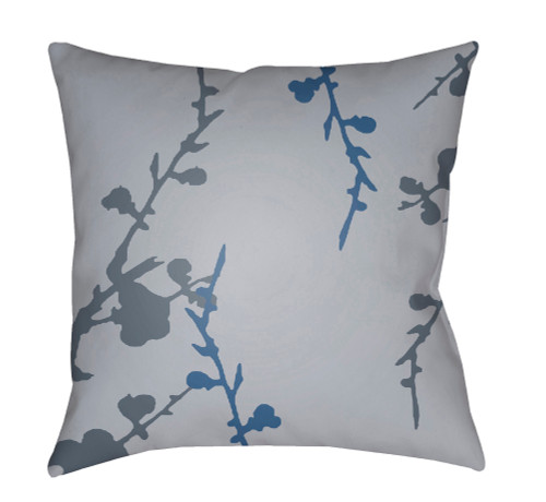"""20"""" Gray and Denim Blue Floral Square Throw Pillow Cover with Knife Edge - IMAGE 1"""