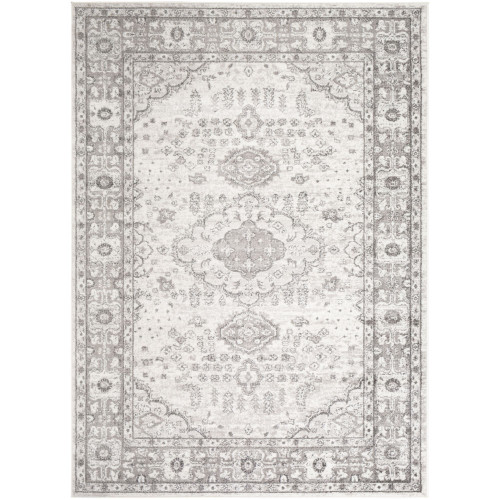 """9'3"""" x 12'6"""" Ethnic Design Gray and White with Decorative Boarder Rectangular Area Rug - IMAGE 1"""
