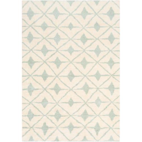 2' x 3' Cream White and Green Geometric Rectangular Area Throw Rug - IMAGE 1