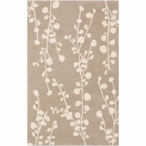 7.5' x 9.5' Contemporary Style Brown and Ivory Hand Tufted Rectangular Area Throw Rug - IMAGE 1