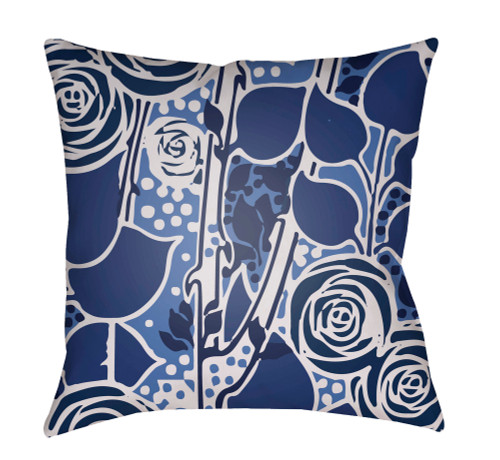 "20"" Navy and Gray Floral Square Throw Pillow Cover with Knife Edge - IMAGE 1"