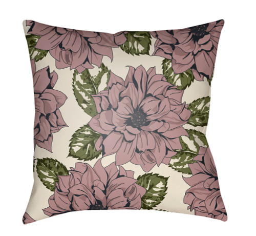 "18"" Brown and Green Floral Printed Throw Pillow Cover with Knife Edge - IMAGE 1"