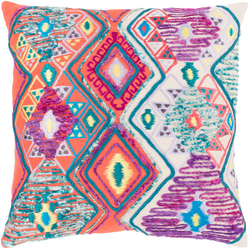 """22"""" Orange and White Embroidered and Patched Geometric Pattern Throw Pillow - Down Filler - IMAGE 1"""