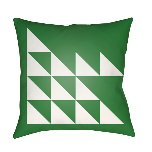 "20"" Grass Green and White Modern Square Throw Pillow Cover - IMAGE 1"