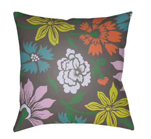 """18"""" Gray and Yellow Floral Printed Throw Pillow Cover with Knife Edge - IMAGE 1"""