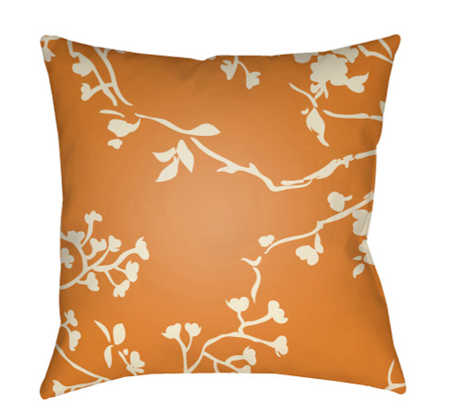 "20"" Beige and Orange Floral Square Throw Pillow Cover with Knife Edge - IMAGE 1"