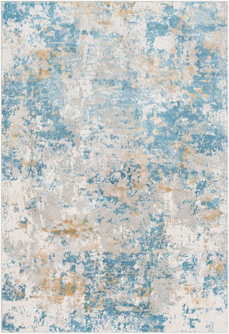 5.25' x 7.25' Blue and Gray Distressed Rectangular Area Throw Rug - IMAGE 1