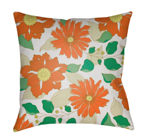 """18"""" Orange and Green Floral Printed Square Throw Pillow Cover with Knife Edge - IMAGE 1"""