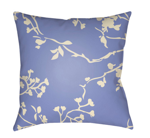 """20"""" Purple and Ivory Floral Square Throw Pillow Cover with Knife Edge - IMAGE 1"""