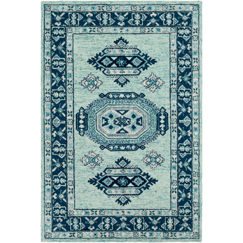 8' x 10' Contemporary Teal and Navy Blue Hand Tufted Rectangular Area Throw Rug - IMAGE 1