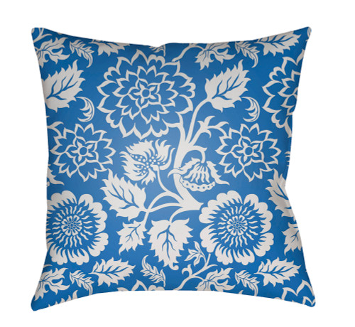 """18"""" Blue and White Floral Motif Square Throw Pillow Cover with Knife Edge - IMAGE 1"""