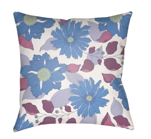"""18"""" White and Blue Floral Printed Square Throw Pillow Cover with Knife Edge - IMAGE 1"""