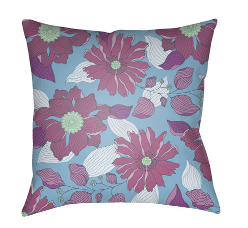 """18"""" Blue and Purple Floral Printed Square Throw Pillow Cover with Knife Edge - IMAGE 1"""