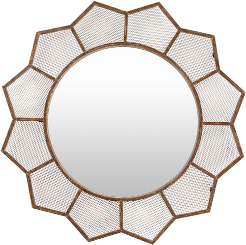 """38.5"""" Brown and White Wooden Frame Round Shaped Wall Mirror - IMAGE 1"""